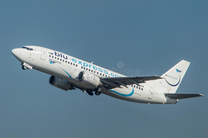 Blu Express Airline take off royalty free stock images