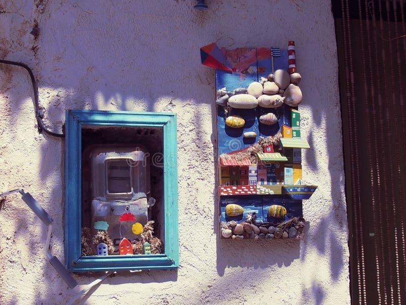 Blu, finestra, Camera, arte immagine stock