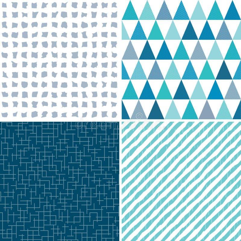 Blu grigio dell'acqua geometrica senza cuciture stabilita dei modelli illustrazione di stock