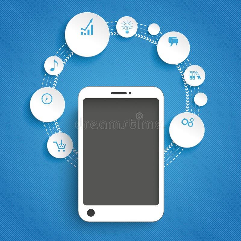 Blu Infographic di Smartphone del ciclo dei cerchi royalty illustrazione gratis