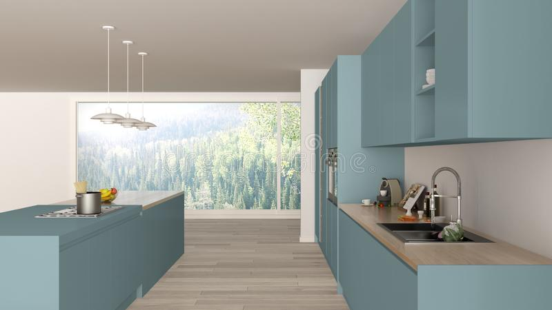 Blu minimalista moderno e cucina di legno con l'isola e la grande finestra panoramica, parquet, lampade di pendente, architettura illustrazione vettoriale
