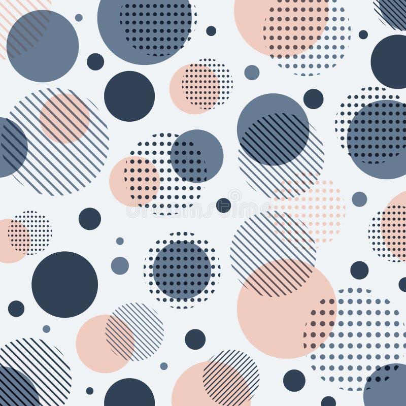Blu moderno astratto, modello di punti rosa con le linee diagonalmente su fondo bianco illustrazione di stock