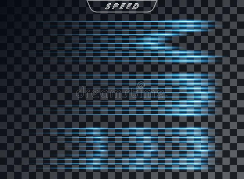 Blu orizzontale leggero, linee trasparenti effetto di velocità, su fondo nero Coda luminosa mascherina Elemento di progettazione  royalty illustrazione gratis