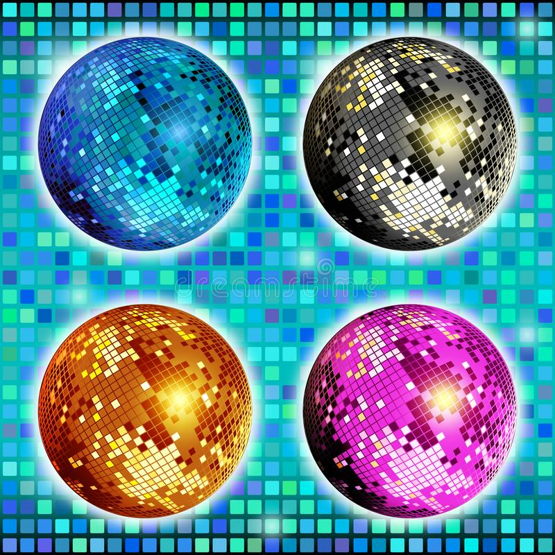 Blu, oro, argento e palla rosa della discoteca Metta della palla variopinta isolata, progettazione dello specchio della discoteca royalty illustrazione gratis