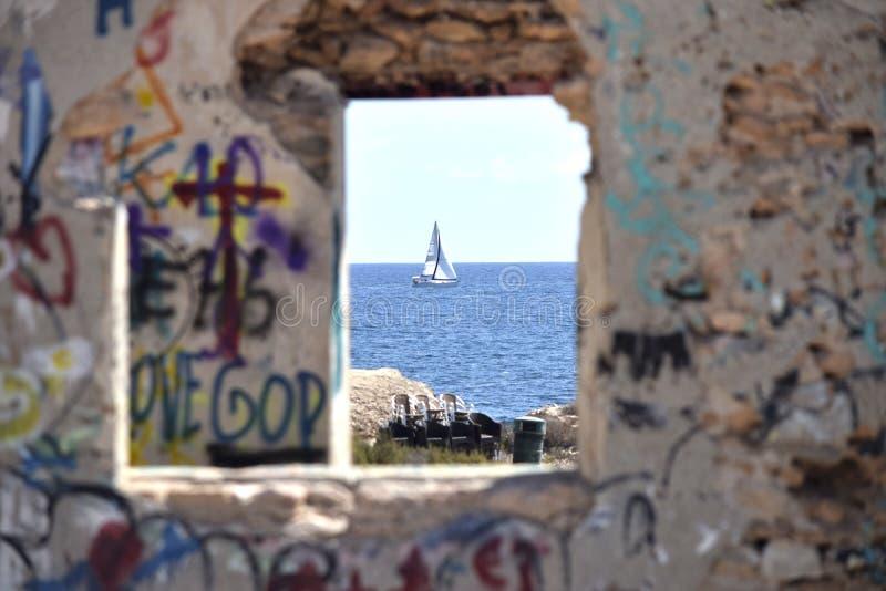 Blu, parete, arte, turismo fotografia stock libera da diritti