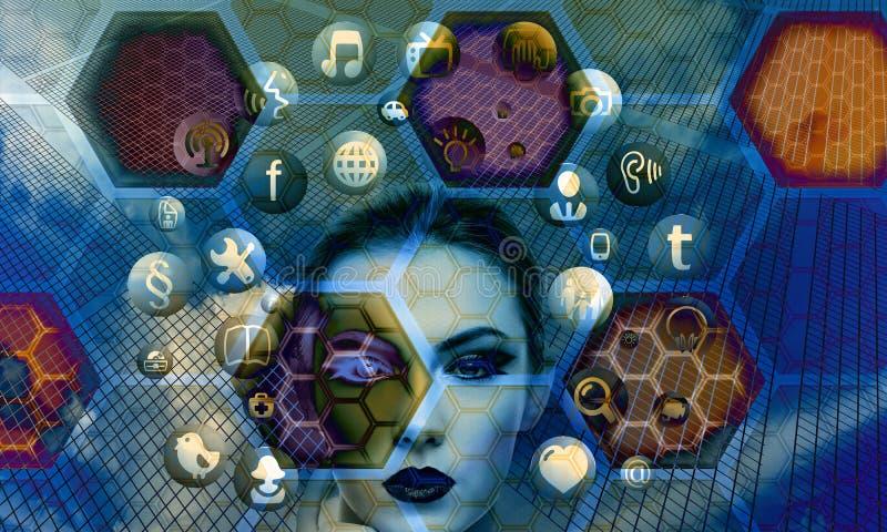 Blu, porpora, arte, organismo fotografie stock