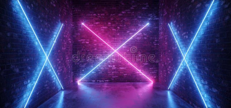 Blu porpora d'ardore di rosa di pendenza delle retro luci cruciformi moderne futuristiche al neon di Sci Fi in pareti vuote scure illustrazione di stock