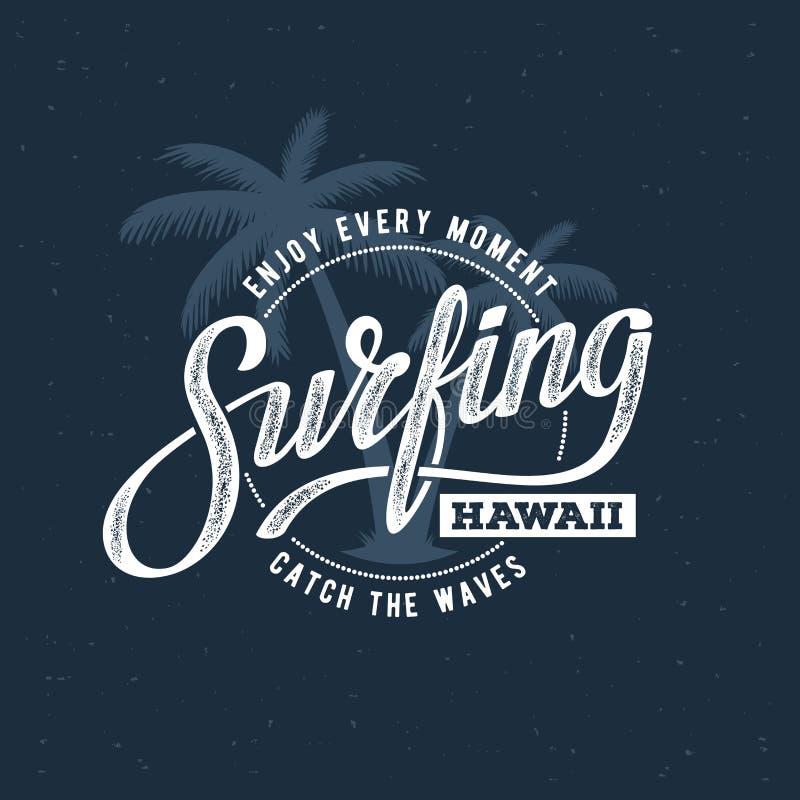 Blu praticante il surfing delle Hawai royalty illustrazione gratis