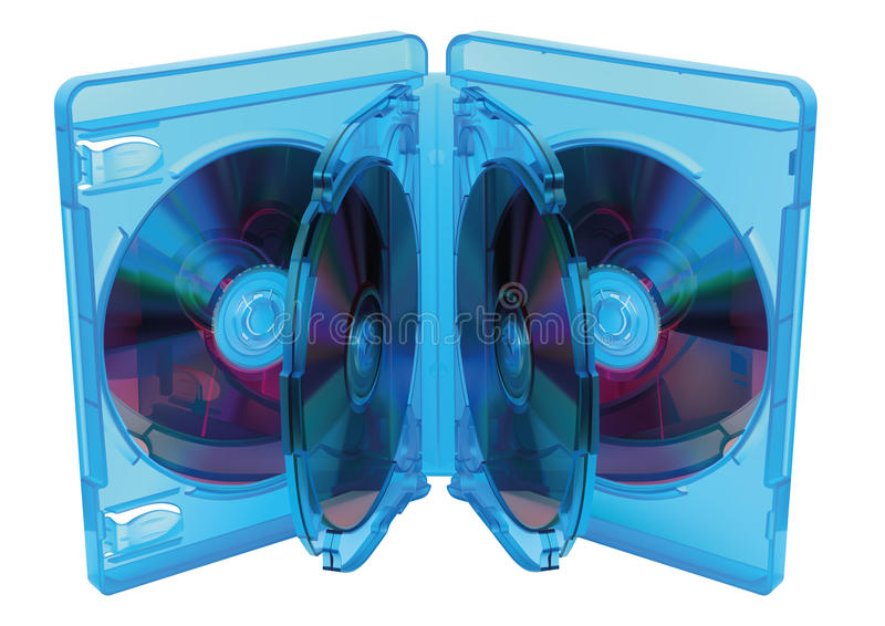 Blu Ray disc box. Illustration of opened Blu Ray disc box with discs royalty free illustration