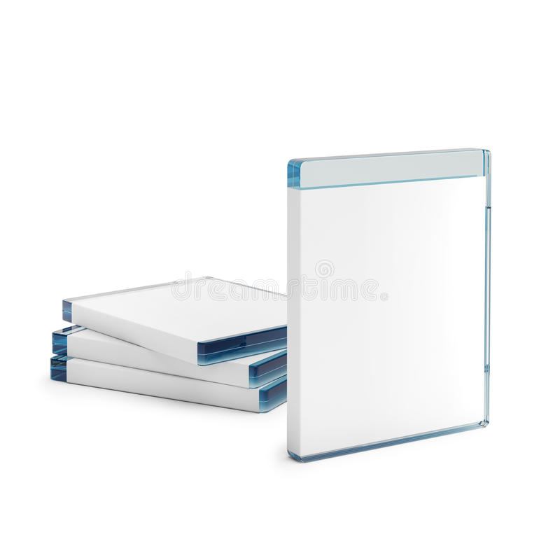 Blu ray disc boxes on white. 3d rendered blu ray disc boxes on white stock illustration
