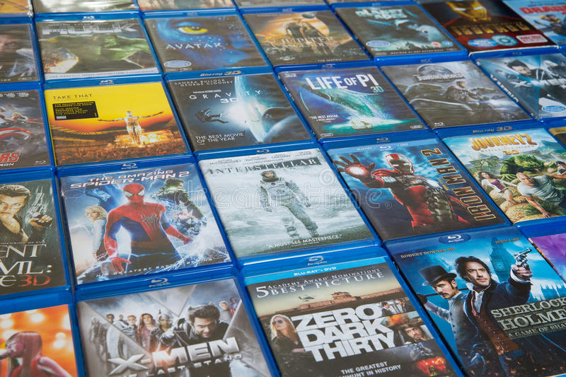 Blu-ray Discs Movies In Market royalty free stock photos