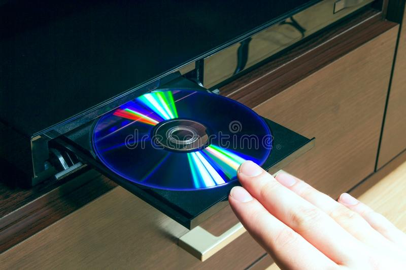 Blu-ray or DVD player. With inserted disc royalty free stock image