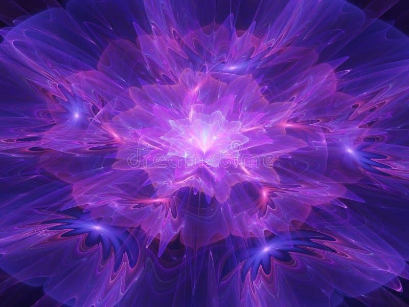 Blu rosa tenero futuristico astratto e la viola fioriscono il frattale illustrazione vettoriale