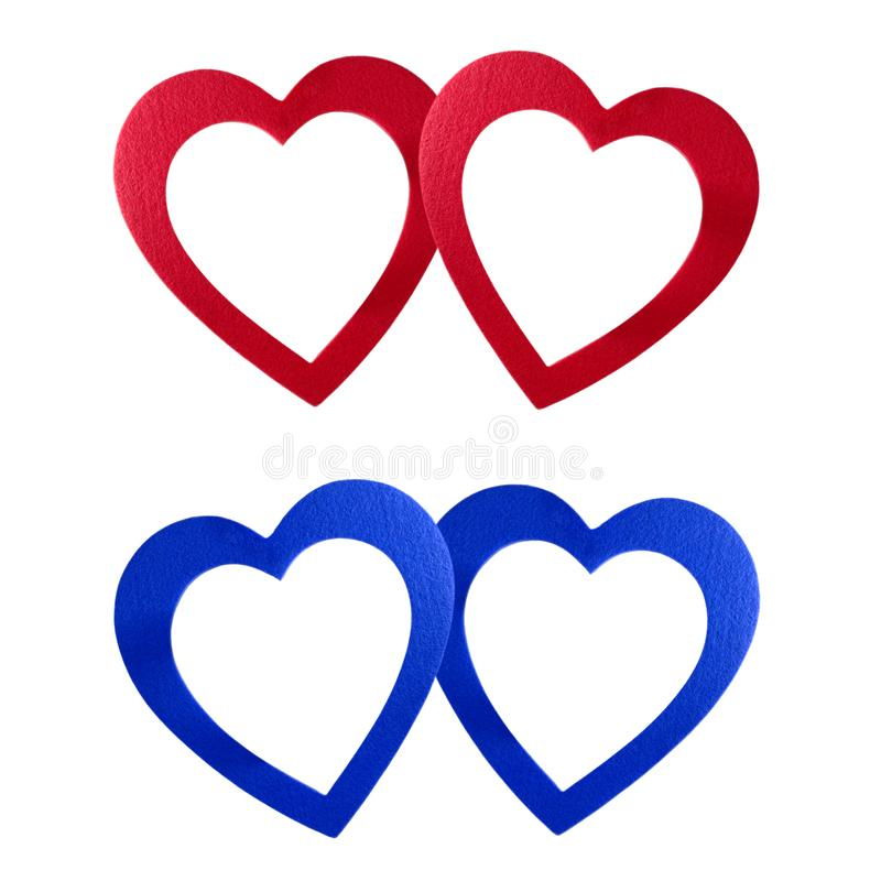 Blu rosso dei cuori di San Valentino fotografia stock