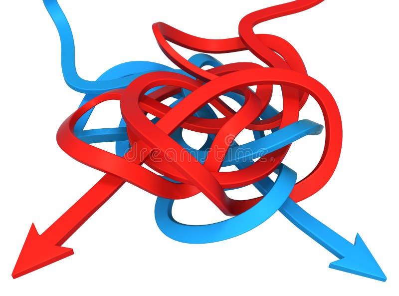 Blu rosso della freccia aggrovigliato illustrazione di stock