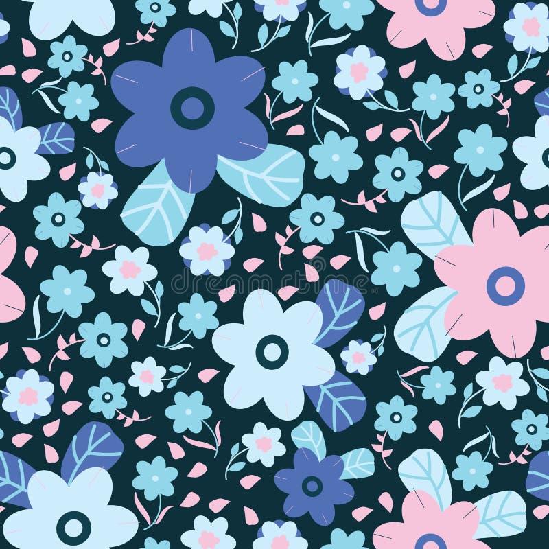 Blu scuro con fiori rosa e blu Disegno di sfondo di grande e piccolo disegno royalty illustrazione gratis