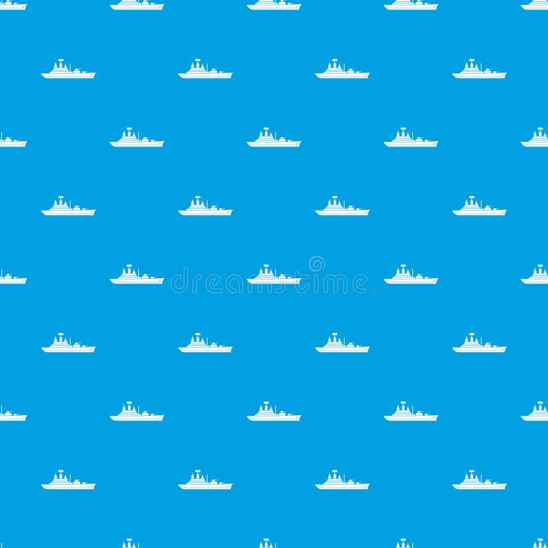 Blu senza cuciture del modello della nave da guerra illustrazione vettoriale