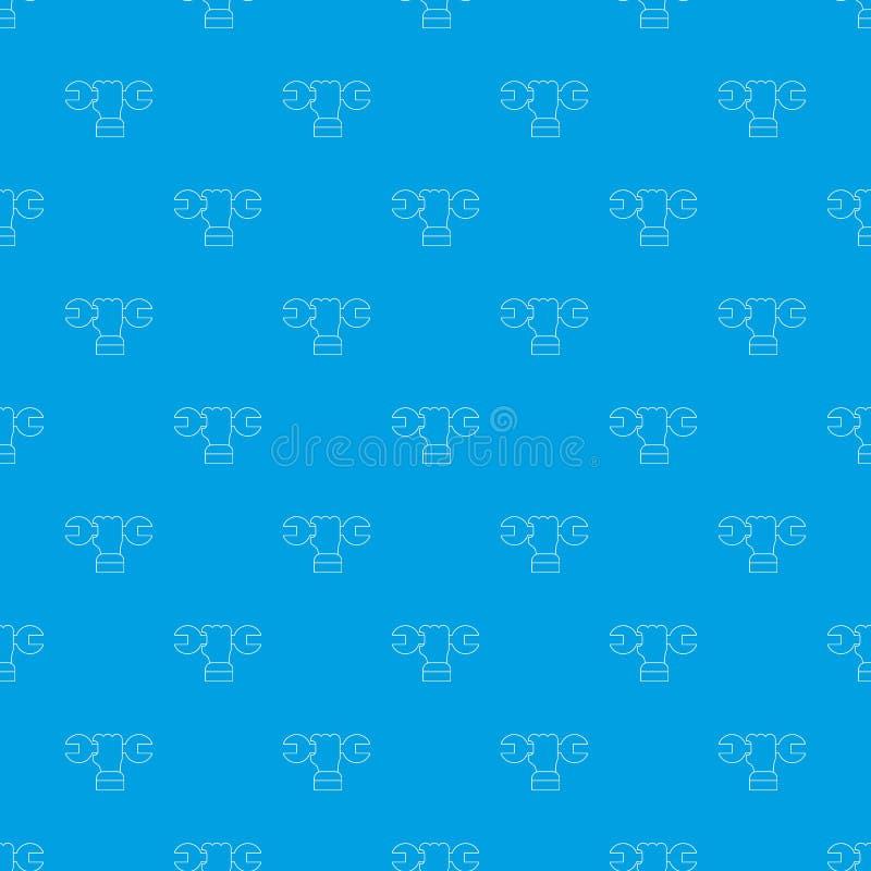 Blu senza cuciture di vettore del modello della chiave della mano illustrazione di stock