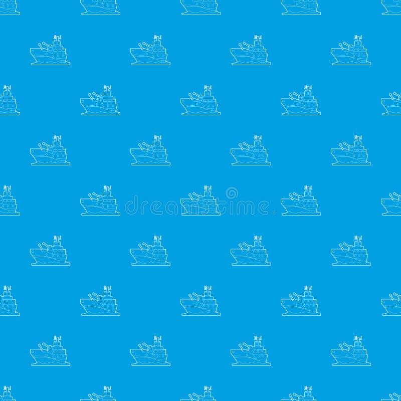 Blu senza cuciture di vettore del modello della nave da guerra illustrazione di stock
