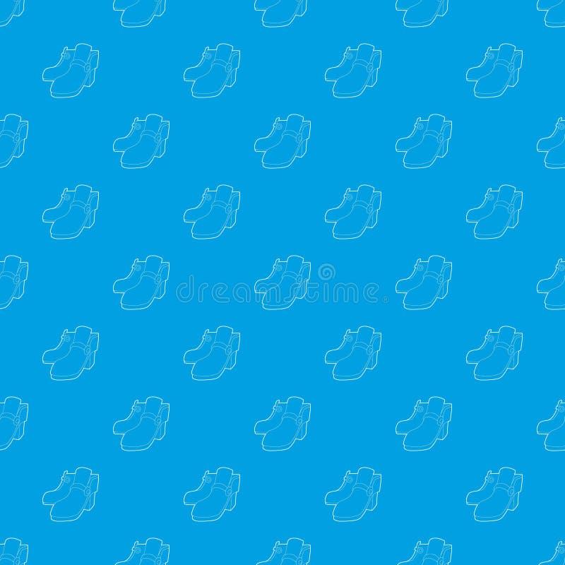 Blu senza cuciture di vettore del modello di due stivali illustrazione di stock