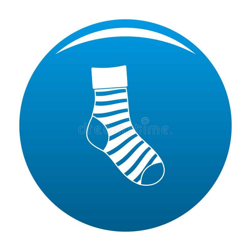 Blu a strisce di vettore dell'icona del calzino illustrazione vettoriale