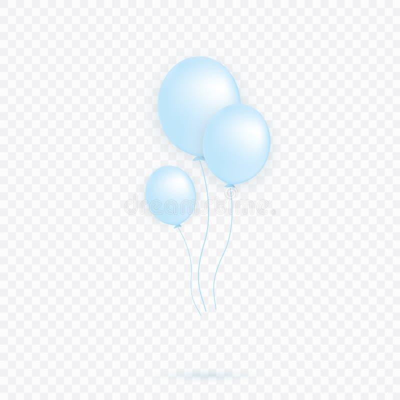 Blu trasparente con il pallone dell'elio dei coriandoli isolato nell'aria Decorazioni del partito per un compleanno, anniversario illustrazione vettoriale