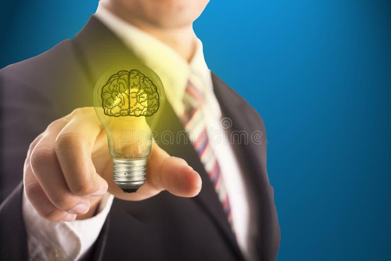 Blub conmovedor del cerebro de la idea del hombre de negocios imagen de archivo libre de regalías