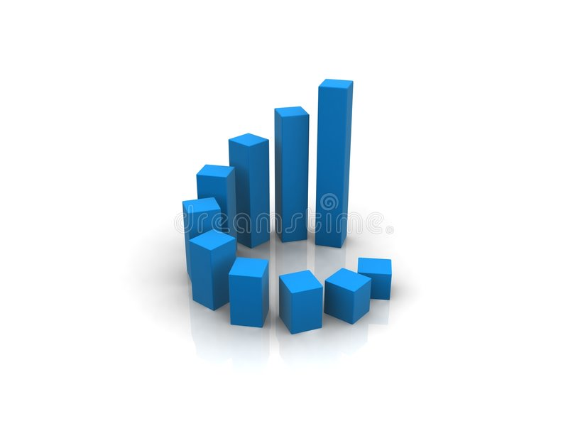Blue 3d chart stock illustration