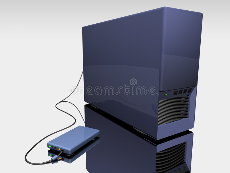 Blue 3d computer tower.  stock illustration