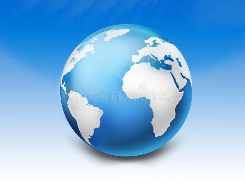 blue 3d glossy globe stock images