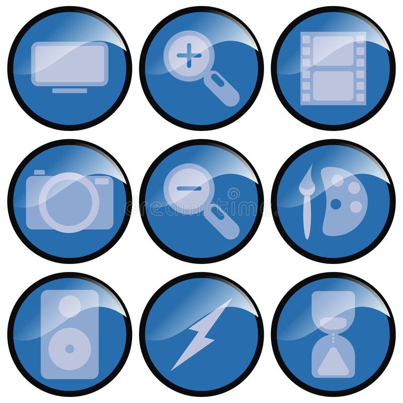 Download Blue 3d Icons stock photo. Image of lightening, icons - 2341594