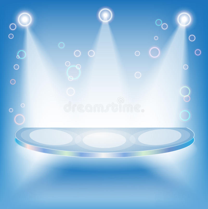 Blue 3d Isolated Empty Shelf For Exhibit Stock Image