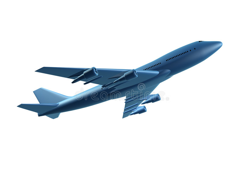 Download Blue 3d plane stock illustration. Image of aircraft, flying - 2807804
