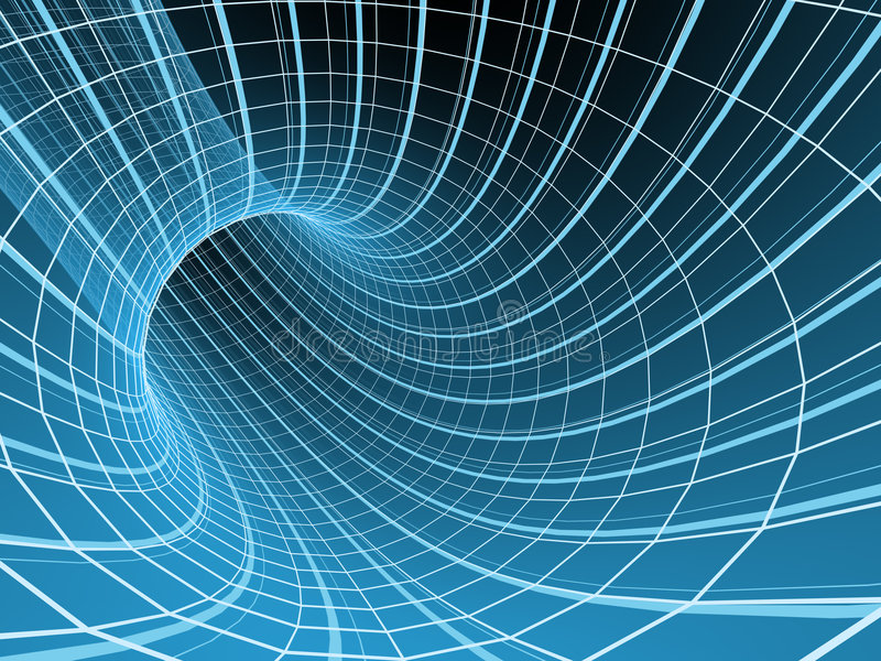 Download Blue Abstract 3d Tunnel From A Grid Stock Illustration - Image: 5134514