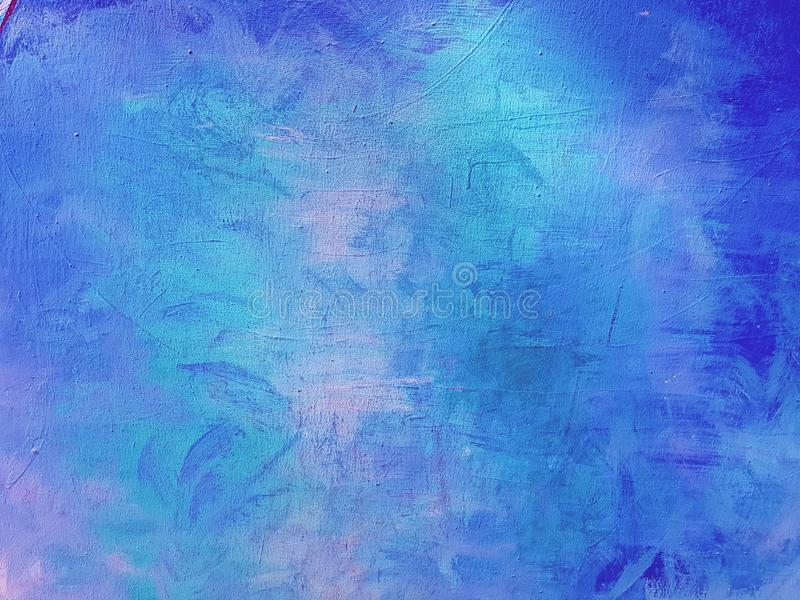 Blue abstract painted background wall. Blue abstract art background, paint texture on wall in blue colour royalty free stock photography