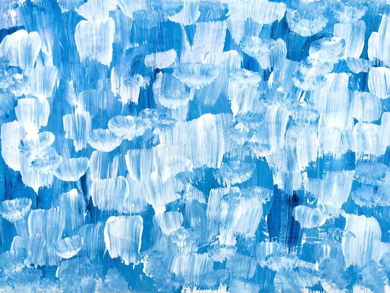 Blue abstract art hand painted background. Blue creative abstract hand painted background, brush acrylic painting on canvas, wallpaper, texture. Modern art stock illustration
