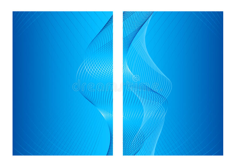 Blue abstract background, front and back vector illustration