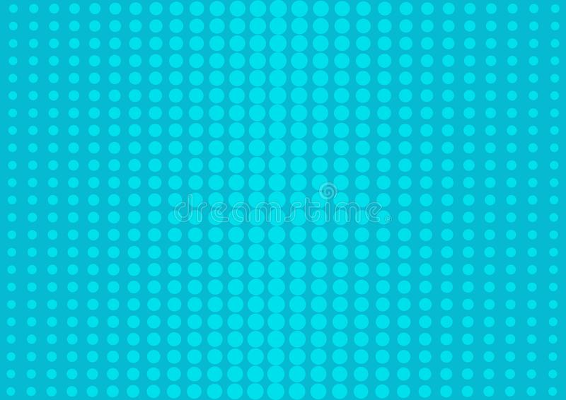 Blue abstract background with halftone dots in pop art style. Vector royalty free illustration