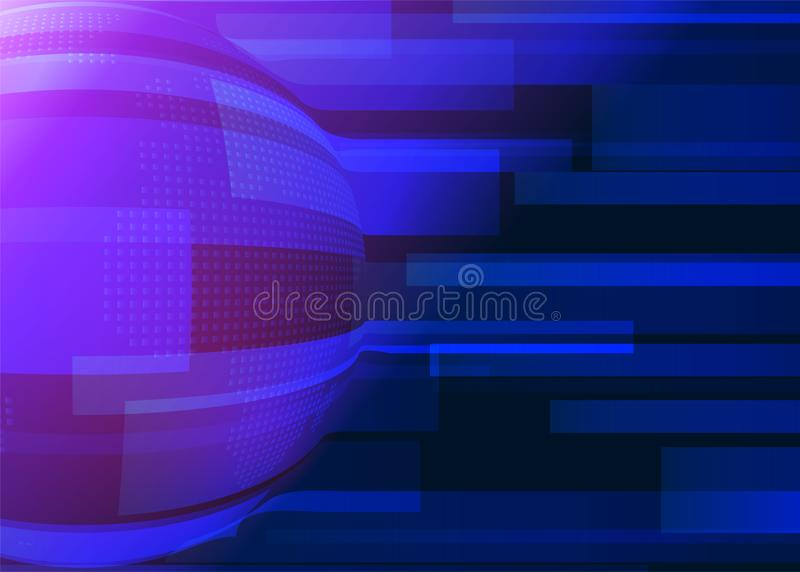 Blue abstract background with lines, earth globe in dark blue colors and pink light effect. Technology geometric in. Minimal simple style Vector illustration royalty free illustration