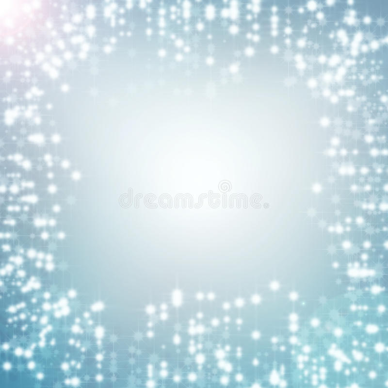 Blue abstract background white christmas lights. Blue abstract background and white christmas lights, delicate stars, snowflakes, sparkles and subtle bokeh stock illustration