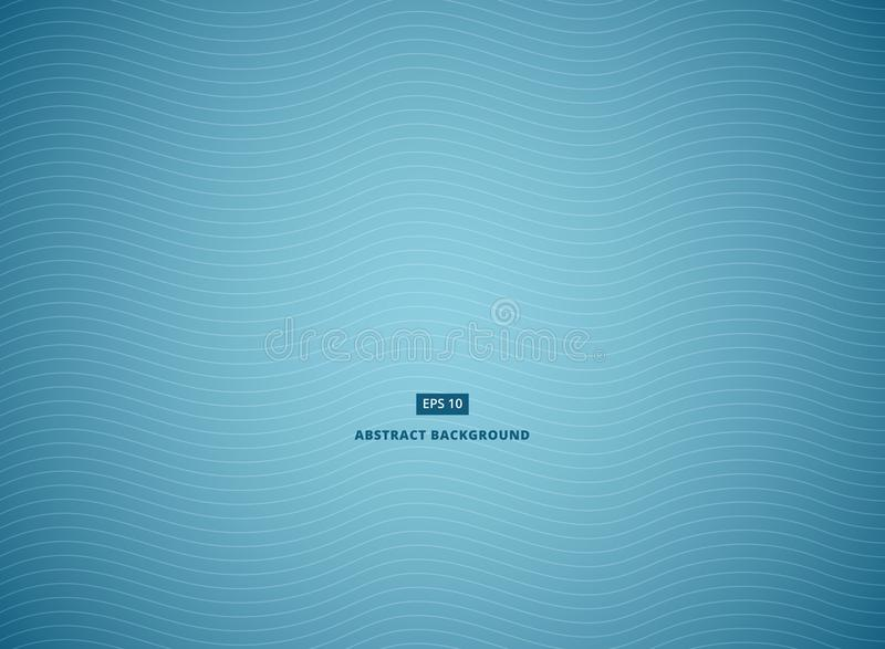 Blue abstract background with white wave lines. Vector illustration vector illustration