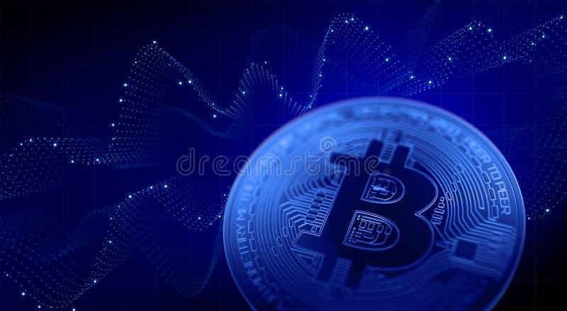 Blue abstract bitcoin chart. 3d illustration. stock illustration