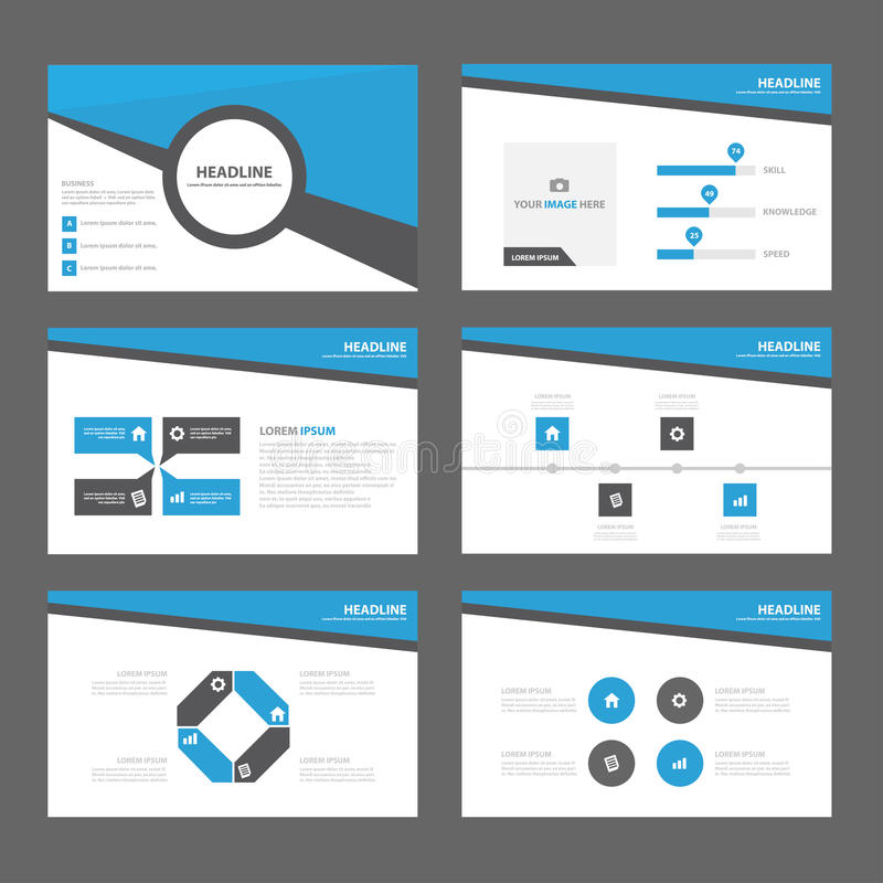 Blue Abstract Brochure report flyer magazine presentation element template a4 size set for advertising marketing website royalty free illustration