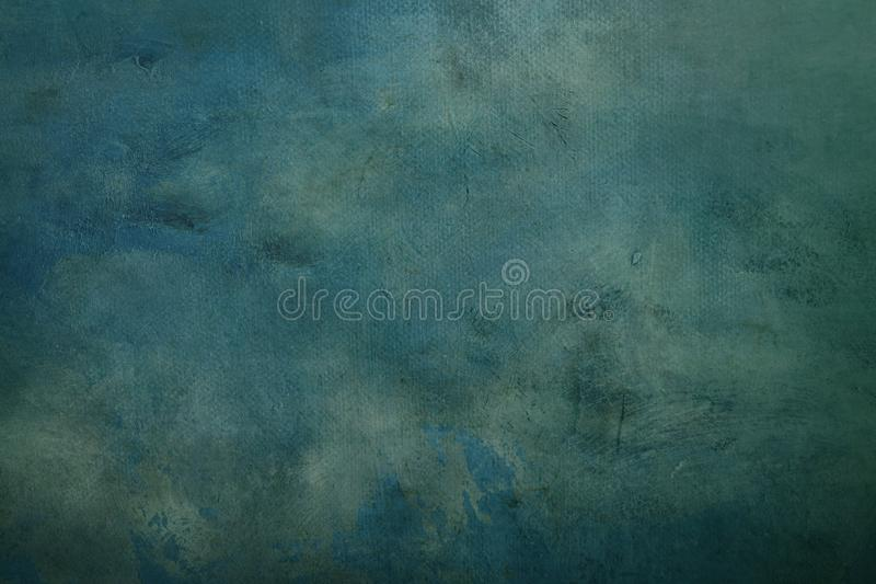 Blue abstract canvas background or texture. Dark blue turquoise grungy canvas background or texture stock images