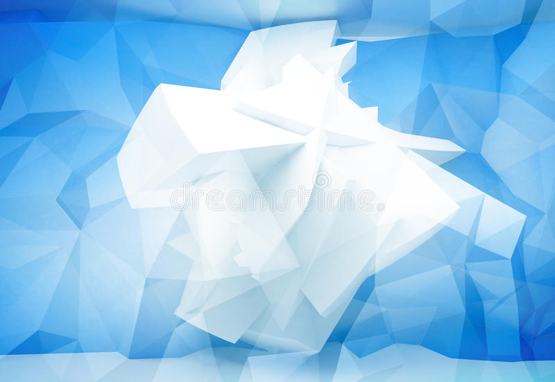 Blue abstract 3d background with chaotic polygons vector illustration