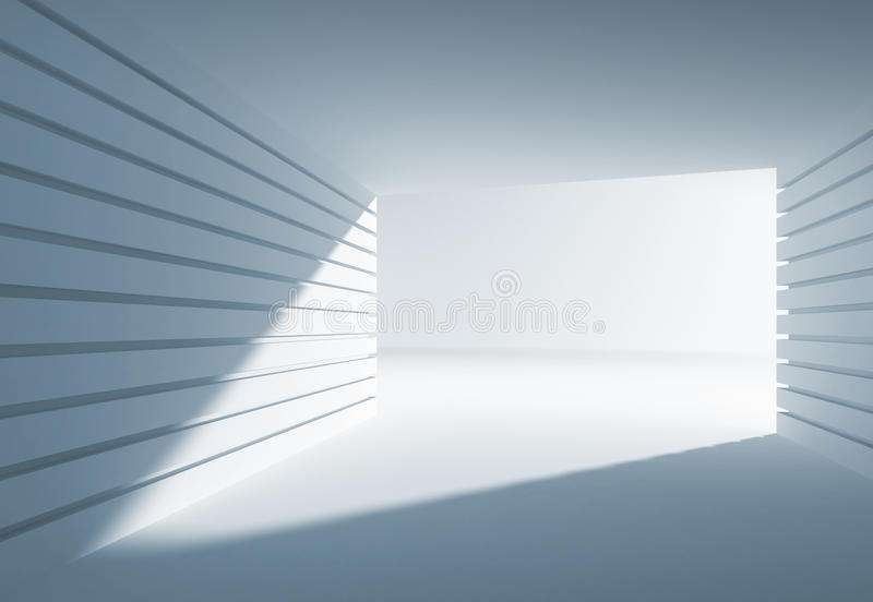 Blue abstract 3d interior with angle of light royalty free illustration