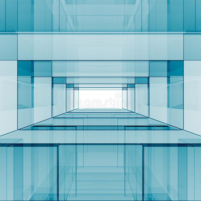 Blue abstract design 3D rendering royalty free illustration