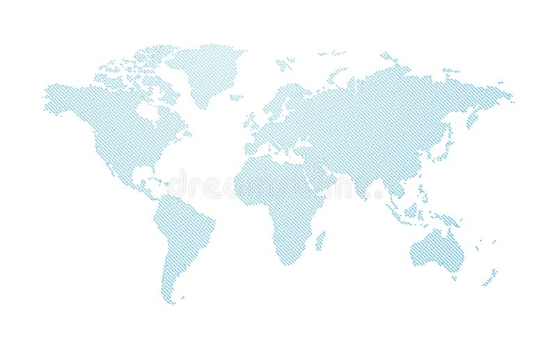 Blue abstract dotted world map vector illustration