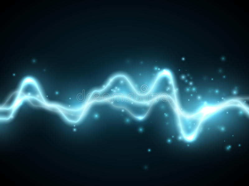 Blue abstract energy shock effect. Electric discharge. Vector illustration. Blue abstract energy shock effect with many glowing particles. Electric discharge on royalty free illustration