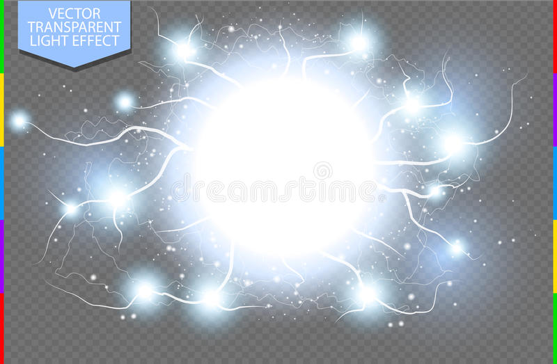 Blue abstract energy shock explosion special light effect with spark transparency in additional format only. Vector glow power lightning cluster. Electric stock illustration